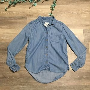 American Eagle Outfitters Chambray Denim Top